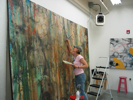 Lorna working in her studio